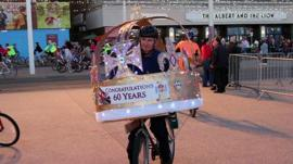 A cyclist at Blackpool Illuminations