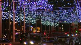 Illuminations over the Promenade in Blackpool