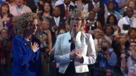 Gabby Giffords leads the DNC in the pledge of allegiance
