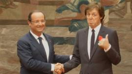 Francois Hollande and Sir Paul McCartney
