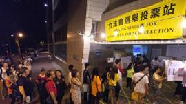 Voters queue at Hong Kong polling station