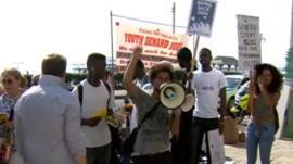 Protesters in Brighton