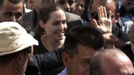 Angelina Jolie in the Domiz camp