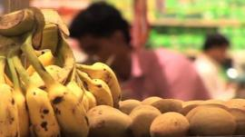 Fruit and vegetables in an Indian supermarket