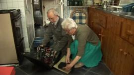 Pensioners on kitchen floor