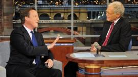 David Cameron talking to David Letterman