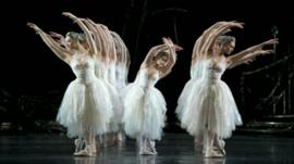 Dancers on stage performing Swan Lake