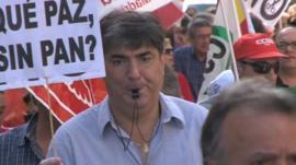 Protestor in Madrid