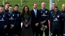 The Duke and Duchess of Cambridge with players at England's new national football centre