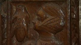 A medieval carving in a Devon church