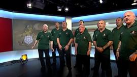 Warriors, former soldier from the Yorkshire Regiment singing