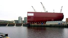 Hull section of HMS Queen Elizabeth at BAE in Govan