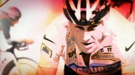 Graphic of Lance Armstrong in various races