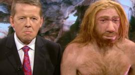 BBC Breakfast presenter Bill Turnbull and a model of a Neanderthal man