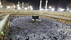 Muslim pilgrims circle the Kaaba and pray at the Grand mosque during the annual Hajj pilgrimage in the holy city of Mecca