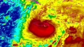 Satellite image of Hurricane Sandy