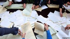 Ballots counted in Ukraine