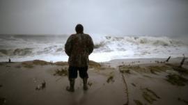 A man near the ocean
