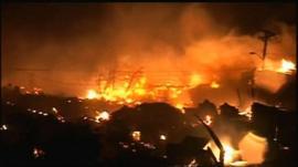 Fire in Queens, New York