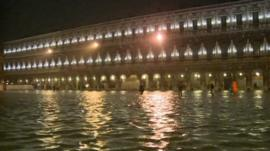 San Marco Square flooded in Venice, Italy