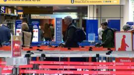 Passengers in Glasgow airport