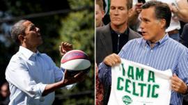 President Barack Obama plays basketball (l), Mitt Romney receives a Boston Celtics jersey (r)