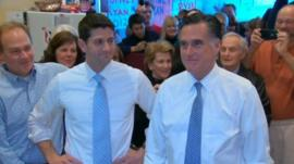 Paul Ryan and Mitt Romney campaign on polling day