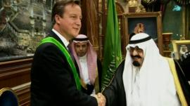 David Cameron meets Saudi officials in Jeddah