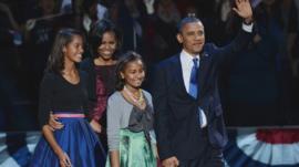 US President Barack Obama and his family