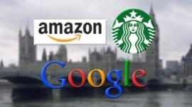 The Amazon, Starbucks and Google corporate logos