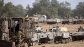 Israeli tanks near border with Gaza Strip
