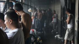 Inmates in a corridor in Ciudad Barrios, San Salvador