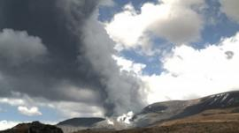 The eruption of Te Maari Crater on Mount Tongariro situated in the central area of New Zealand