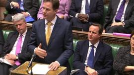Deputy Prime Minister Nick Clegg in the Commons