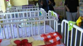 Cots in childcare centre