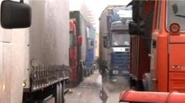 Lorries in a traffic jam