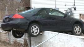A car damaged by Sandy