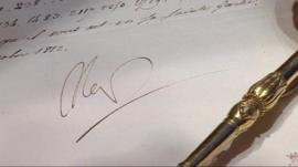 Napoleon's signature on the coded letter