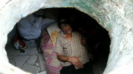 Miguel Restrepo in his home inside a sewer