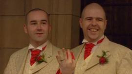 Civil Partnership ceremony - Henry Kane and Chris Flanagan at Belfast City Hall 19/12/2005