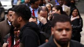 A line of jobseekers at a career fair in New York on 12 April 2012