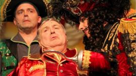 Matt Brown, Russell Grant and Steven Serlin in Peter Pan at the Aylesbury Waterside Theatre