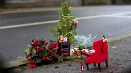 A Christmas-themed pothole garden