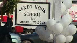 White balloons for each of the victims of the Sandy Hook shooting