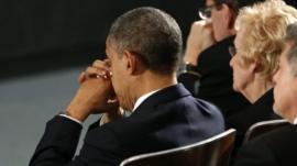 President Barack Obama before his speech in Newtown