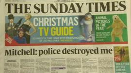 Sunday Times front page showing Andrew Mitchell headline