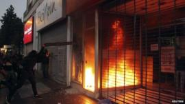 Shop on fire in Santiago