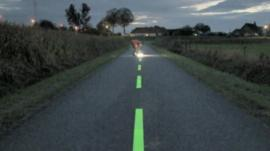 Reflective crystals painted on the highway for cyclists