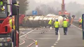 A14 tanker crash