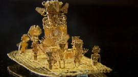 The gold art work known as the Muisca Raft on display at the Gold Museum in Bogota, Colombia